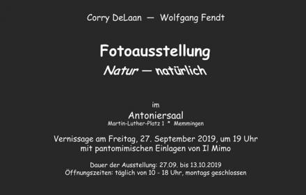 Unser Mitglied Corry DeLaan stellt vom 28.09.2019 - 13.10.2019 gemeinsam mit dem Memminger Fotografen Wolfgang Fendt in Memmingen aus.